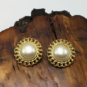 Vintage gold chain round dome Pearl 90s classic